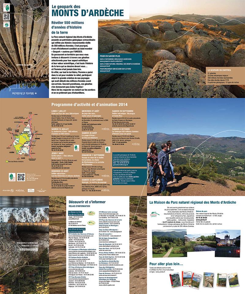 Dépliant/carte Geopark des monts d'Ardèche