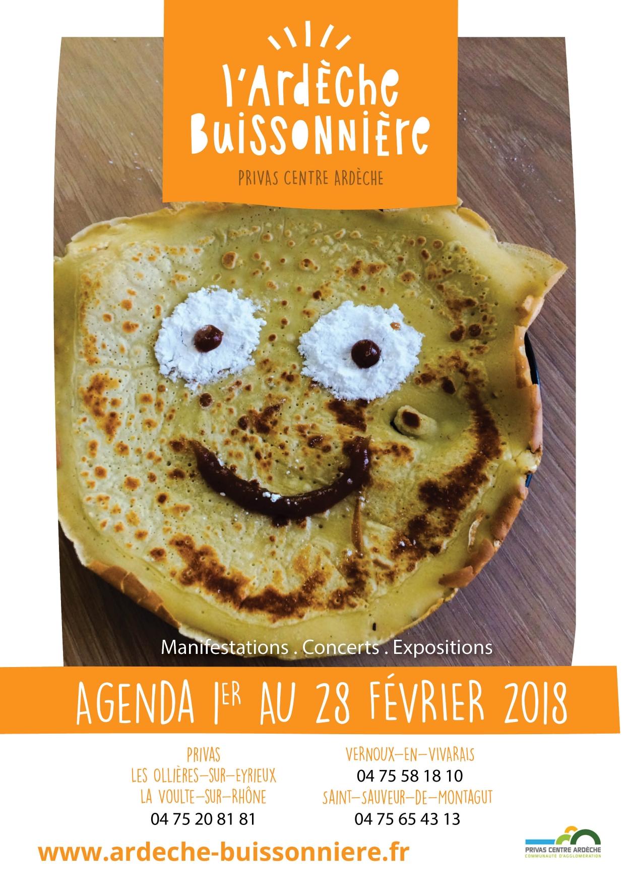 Agenda de l'Ardèche Buissonnière du mois de février