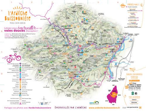 Carte du secteur de l'Ardèche Buissonnière
